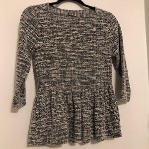 Bobeau | 3/4 sleeve B&W career blouse size small